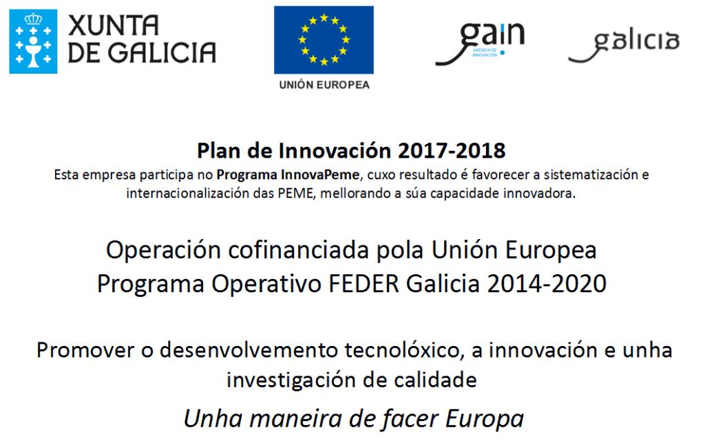 Plan de innovación programa InnovaPEME - Feder Galicia - Integasa